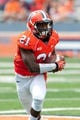 Sep 7, 2013; Champaign, IL, USA; Illinois Fighting Illini wide receiver Devin Church (21) runs after a reception during the game against the Cincinnati Bearcats at Memorial Stadium. Mandatory Credit: Bradley Leeb-USA TODAY Sports