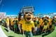 Sep 21, 2013; Waco, TX, USA; The Baylor Bears mascot Bruiser prepares to lead the students on to the field before the game between the Bears and the Louisiana Monroe Warhawks at Floyd Casey Stadium. The Bears defeated the Warhawks 70-7. Mandatory Credit: Jerome Miron-USA TODAY Sports