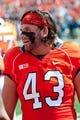 Sep 7, 2013; Champaign, IL, USA; Illinois Fighting Illini linebacker Mason Monheim (43) during the game against the Cincinnati Bearcats at Memorial Stadium. Mandatory Credit: Bradley Leeb-USA TODAY Sports