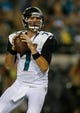 Aug 24, 2013; Jacksonville, FL, USA; Jacksonville Jaguars quarterback Chad Henne (7) looks for a receiver in the second quarter of their game against the Philadelphia Eagles at EverBank Field. The Philadelphia Eagles beat the Jacksonville Jaguars 31-24. Mandatory Credit: Phil Sears-USA TODAY Sports