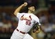 Sep 24, 2013; St. Louis, MO, USA; St. Louis Cardinals starting pitcher Michael Wacha (52) throws to a Washington Nationals batter during the first inning at Busch Stadium. Mandatory Credit: Jeff Curry-USA TODAY Sports