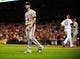 Sep 24, 2013; St. Louis, MO, USA; Washington Nationals starting pitcher Gio Gonzalez (47) looks on as St. Louis Cardinals first baseman Matt Adams (53) scores on a double by catcher Yadier Molina (not pictured) during the fourth inning at Busch Stadium. Mandatory Credit: Jeff Curry-USA TODAY Sports