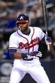 Sep 24, 2013; Atlanta, GA, USA; Atlanta Braves center fielder Jason Heyward (22) shown at the plate with his protective batting helmet against the Milwaukee Brewers during the first inning at Turner Field. The Braves defeated the Brewers 3-2. Mandatory Credit: Dale Zanine-USA TODAY Sports