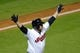 Sep 24, 2013; Cleveland, OH, USA; Cleveland Indians pinch hitter Jason Giambi celebrates his game-winning two-run home run in the ninth inning against the Chicago White Sox at Progressive Field. Cleveland won 5-4. Mandatory Credit: David Richard-USA TODAY Sports