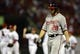 Sep 24, 2013; St. Louis, MO, USA; Washington Nationals right fielder Jayson Werth (28) walks off the field after grounding out to end the game against the St. Louis Cardinals at Busch Stadium. St. Louis defeated Washington 2-0. Mandatory Credit: Jeff Curry-USA TODAY Sports