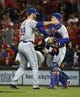 Sep 24, 2013; Cincinnati, OH, USA; New York Mets relief pitcher Vic Black (38) is congratulated by New York Mets catcher Travis d'Arnaud (15) after the Mets beat the Cincinnati Reds 4-2 at Great American Ball Park. Mandatory Credit: David Kohl-USA TODAY Sports