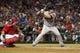 Sep 24, 2013; Arlington, TX, USA; Houston Astros third baseman Matt Dominguez (30) bats during the eighth inning of the game against the Texas Rangers at Rangers Ballpark in Arlington. The Texas Rangers beat the Houston Astros 3-2. Mandatory Credit: Tim Heitman-USA TODAY Sports