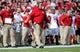 Sep 21, 2013; Piscataway, NJ, USA;  Arkansas Razorbacks head coach Bret Bielema during the first half against the Rutgers Scarlet Knights at High Points Solutions Stadium. Mandatory Credit: Jim O'Connor-USA TODAY Sports