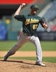 September 25, 2013; Anaheim, CA, USA; Oakland Athletics starting pitcher Dan Straily (67) pitches in the sixth inning against the Los Angeles Angels at Angel Stadium of Anaheim. Mandatory Credit: Gary A. Vasquez-USA TODAY Sports