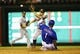 Sep 25, 2013; Arlington, TX, USA; Texas Rangers shortstop Elvis Andrus (1) steals second base ahead of the tag by Houston Astros second baseman Jose Altuve (27) during the game at Rangers Ballpark in Arlington. Mandatory Credit: Kevin Jairaj-USA TODAY Sports
