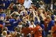 Sep 25, 2013; Arlington, TX, USA; Fans try to catch a foul ball during the game between the Texas Rangers and the Houston Astros at Rangers Ballpark in Arlington. Mandatory Credit: Kevin Jairaj-USA TODAY Sports