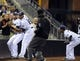 Sep 25, 2013; San Diego, CA, USA; San Diego Padres left fielder Kyle Blanks (88) tries to avoid contact with third baseman Chase Headley (7) after he caught a foul ball during the third inning against the Arizona Diamondbacks at Petco Park. Mandatory Credit: Christopher Hanewinckel-USA TODAY Sports