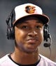 Sep 25, 2013; Baltimore, MD, USA; Baltimore Orioles second baseman Jonathan Schoop (6) is interviewed after making his major league debut against the Toronto Blue Jays at Oriole Park at Camden Yards. The Orioles defeated the Blue Jays 9-5. Mandatory Credit: Joy R. Absalon-USA TODAY Sports