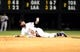 Sep 25, 2013; Denver, CO, USA; Colorado Rockies first baseman Todd Helton (17) calls for time after sliding into second base following his double in the fifth inning of the game against the Boston Red Sox at Coors Field. Mandatory Credit: Ron Chenoy-USA TODAY Sports