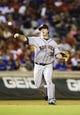 Sep 25, 2013; Arlington, TX, USA; Houston Astros third baseman Matt Dominguez (30) throws to first base during the game against the Texas Rangers at Rangers Ballpark in Arlington. Mandatory Credit: Kevin Jairaj-USA TODAY Sports
