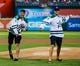 Sep 25, 2013; Arlington, TX, USA; Dallas Stars hockey players Tyler Seguin(91) and Jamie Benn (14) throw out the first pitch before the game against the Houston Astros at Rangers Ballpark in Arlington. Mandatory Credit: Kevin Jairaj-USA TODAY Sports