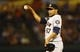 Sep 25, 2013; Arlington, TX, USA; Houston Astros relief pitcher Jorge De Leon (67) reacts during the game against the Texas Rangers at Rangers Ballpark in Arlington. Mandatory Credit: Kevin Jairaj-USA TODAY Sports