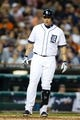 Sep 18, 2013; Detroit, MI, USA; Detroit Tigers third baseman Miguel Cabrera (24) reacts at bat against the Seattle Mariners at Comerica Park. Mandatory Credit: Rick Osentoski-USA TODAY Sports