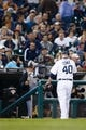 Sep 18, 2013; Detroit, MI, USA; Detroit Tigers relief pitcher Phil Coke (40) walks off the field after being relieved against the Seattle Mariners at Comerica Park. Mandatory Credit: Rick Osentoski-USA TODAY Sports