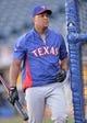 Sep 21, 2013; Kansas City, MO, USA; Texas Rangers third basemen Adrian Beltre (29) before a game against the Kansas City Royals at Kauffman Stadium. Mandatory Credit: Peter G. Aiken-USA TODAY Sports