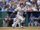 Sep 21, 2013; Kansas City, MO, USA; Texas Rangers center fielder Leonys Martin (2) at bat against the Kansas City Royals during the sixth inning at Kauffman Stadium. Mandatory Credit: Peter G. Aiken-USA TODAY Sports
