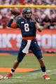 Sep 21, 2013; Syracuse, NY, USA; Syracuse Orange quarterback Drew Allen (8) throws a pass in the fourth quarter of a game against the Tulane Green Wave at Carrier Dome. Syracuse won the game 52-17. Mandatory Credit: Mark Konezny-USA TODAY Sports