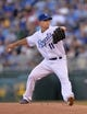 Sep 21, 2013; Kansas City, MO, USA; Kansas City Royals pitcher Jeremy Guthrie (11) delivers a pitch against the Texas Rangers during the first inning at Kauffman Stadium. Mandatory Credit: Peter G. Aiken-USA TODAY Sports