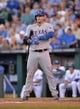 Sep 21, 2013; Kansas City, MO, USA; Texas Rangers catcher A.J. Pierzynski (12) at bat against the Kansas City Royals during the first inning at Kauffman Stadium. Mandatory Credit: Peter G. Aiken-USA TODAY Sports