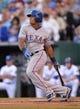 Sep 21, 2013; Kansas City, MO, USA; Texas Rangers third basemen Adrian Beltre (29) at bat against the Kansas City Royals during the first inning at Kauffman Stadium. Mandatory Credit: Peter G. Aiken-USA TODAY Sports