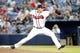 Sep 26, 2013; Atlanta, GA, USA; Atlanta Braves starting pitcher David Hale (62) throws a pitch against the Philadelphia Phillies in the first inning at Turner Field. Mandatory Credit: Brett Davis-USA TODAY Sports