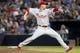 Sep 26, 2013; Atlanta, GA, USA; Philadelphia Phillies starting pitcher Tyler Cloyd (50) throws a pitch against the Atlanta Braves in the first inning at Turner Field. Mandatory Credit: Brett Davis-USA TODAY Sports