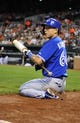Sep 26, 2013; Baltimore, MD, USA; Toronto Blue Jays designated hitter Munenori Kawasaki (66) in the on-deck circle during the third inning against the Baltimore Orioles at Oriole Park at Camden Yards. Mandatory Credit: Joy R. Absalon-USA TODAY Sports