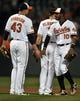 Sep 26, 2013; Baltimore, MD, USA; Baltimore Orioles teammates Jim Johnson (43) and Adam Jones (10) celebrate after a game against the Toronto Blue Jays at Oriole Park at Camden Yards. The Orioles defeated the Blue Jays 3-2. Mandatory Credit: Joy R. Absalon-USA TODAY Sports