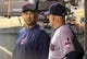 Sep 26, 2013; Minneapolis, MN, USA; Cleveland Indians manager Terry Francona (right) talks to Cleveland Indians third base coach Brad Mills in the dug out during the third inning against the Minnesota Twins at Target Field. Mandatory Credit: Jesse Johnson-USA TODAY Sports