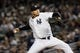 Sep 26, 2013; Bronx, NY, USA; New York Yankees relief pitcher Dellin Betances (61) pitches against the Tampa Bay Rays during the eighth inning of a game at Yankee Stadium. Mandatory Credit: Brad Penner-USA TODAY Sports