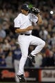 Sep 26, 2013; Bronx, NY, USA; New York Yankees relief pitcher Mariano Rivera (42) fields a ball hit by Tampa Bay Rays pinch hitter Sam Fuld (5) during the eighth inning of a game at Yankee Stadium. Mandatory Credit: Brad Penner-USA TODAY Sports