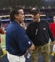 Sep 26, 2013; St. Louis, MO, USA; San Francisco 49ers head coach Jim Harbaugh is congratulated by St. Louis Rams head coach Jeff Fisher after the game at the Edward Jones Dome. The 49ers defeated the Rams 35-11. Mandatory Credit: Scott Rovak-USA TODAY Sports