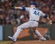 Sep 26, 2013; San Francisco, CA, USA; Los Angeles Dodgers relief pitcher Chris Withrow (44) pitches against the San Francisco Giants during the sixth inning at AT&T Park. The San Francisco Giants defeated the Los Angeles Dodgers 3-2. Mandatory Credit: Ed Szczepanski-USA TODAY Sports