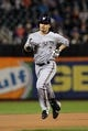 Sep 27, 2013; New York, NY, USA; Milwaukee Brewers right fielder Norichika Aoki (7) rounds the bases after hitting a solo home run against the New York Mets during the first inning of a game at Citi Field. Mandatory Credit: Brad Penner-USA TODAY Sports
