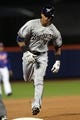Sep 27, 2013; New York, NY, USA; Milwaukee Brewers left fielder Khris Davis (18) rounds the bases after hitting a two-run home run during the first inning of a game at Citi Field. Mandatory Credit: Brad Penner-USA TODAY Sports