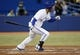 Sep 27, 2013; Toronto, Ontario, CAN; Toronto Blue Jays center fielder Anthony Gose (8) singles in the fourth inning against the Tampa Bay Rays at Rogers Centre. Mandatory Credit: John E. Sokolowski-USA TODAY Sports