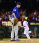 Sep 27, 2013; St. Louis, MO, USA; Chicago Cubs pitcher Brooks Raley (43) reacts after giving up a home run to St. Louis Cardinals third baseman David Freese (23) at Busch Stadium. Mandatory Credit: Scott Rovak-USA TODAY Sports
