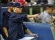 Sep 27, 2013; Toronto, Ontario, CAN; Tampa Bay Rays manager Joe Madden gestures to the field in the ninth inning against the Toronto Blue Jays at Rogers Centre. Toronto defeated Tampa Bay 6-3. Mandatory Credit: John E. Sokolowski-USA TODAY Sports