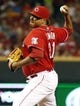 Sep 27, 2013; Cincinnati, OH, USA; Cincinnati Reds relief pitcher Alfredo Simon throws against the Pittsburgh Pirates in the seventh inning at Great American Ball Park. Mandatory Credit: David Kohl-USA TODAY Sports