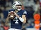 Sep 27, 2013; Provo, UT, USA; Brigham Young Cougars quarterback Taysom Hill (4) looks to pass during the second half against the Middle Tennessee Blue Raiders at Lavell Edwards Stadium. Brigham Young won 37-10. Mandatory Credit: Russ Isabella-USA TODAY Sports