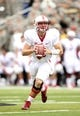 Sep 14, 2013; West Point, NY, USA; Stanford Cardinal quarterbacker Kevin Hogan (8) looks to pass at Michie Stadium. Mandatory Credit: Danny Wild-USA TODAY Sports
