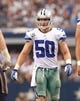 Sep 22, 2013; Arlington, TX, USA; Dallas Cowboys middle linebacker Sean Lee (50) in game action against the St. Louis Rams at AT&T Stadium. The Dallas Cowboys beat the St. Louis Rams 31-7. Mandatory Credit: Tim Heitman-USA TODAY Sports