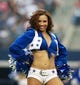 Sep 22, 2013; Arlington, TX, USA; Dallas Cowboys cheerleader performs during the game against the St. Louis Rams at AT&T Stadium. The Dallas Cowboys beat the St. Louis Rams 31-7. Mandatory Credit: Tim Heitman-USA TODAY Sports