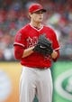 Sep 28, 2013; Arlington, TX, USA; Los Angeles Angels starting pitcher Garrett Richards (43) pauses between throws in a light rain to the Texas Rangers during the first inning of a baseball game at Rangers Ballpark in Arlington. Mandatory Credit: Jim Cowsert-USA TODAY Sports