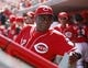 Sep 28, 2013; Cincinnati, OH, USA; Cincinnati Reds manager Dusty Baker (12) in the dugout during the first inning against the Pittsburgh Pirates at Great American Ball Park. Mandatory Credit: Frank Victores-USA TODAY Sports